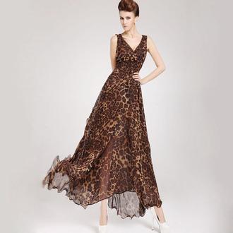dress leopard print bohemian ankle length chiffon dress v neck dress