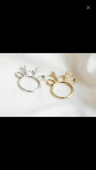 jewels christmas cute girly deer silver gold silver and gold pretty winter swag cute ring ring