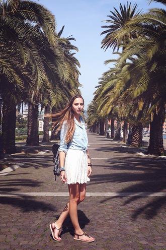 koko luxe blogger blue shirt white skirt leather sandals