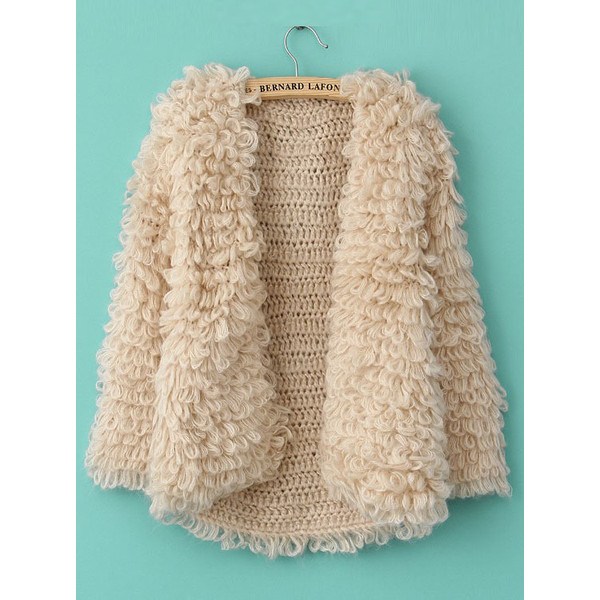 Khaki Long Sleeve Shaggy Slim Cardigan Sweater - Polyvore
