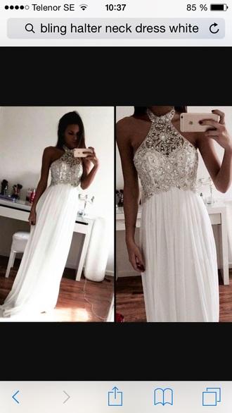 dress white dress diamonds prom dress prom