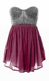 silver,silver studded,studded,rasberry,burgundy,chiffon,dress,cute dress,blue strapless dress,maroon bottom jeweled top,minnie mouse,sparkly dress