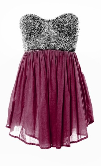 silver silver studded studded rasberry burgundy chiffon dress cute dress blue strapless dress