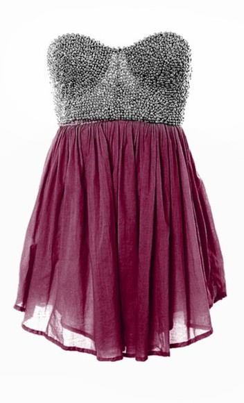 silver silver studded studded rasberry maroon chiffon dress cute dress blue strapless dress