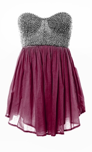 silver silver studded studs rasberry maroon chiffon dress cute dress blue strapless dress