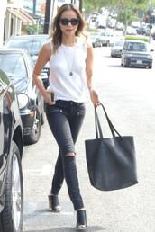 bag,sunglasses,sandals,jamie chung,mules,shoes