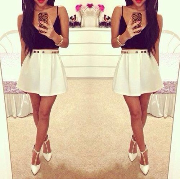 skirt white skirt shoes