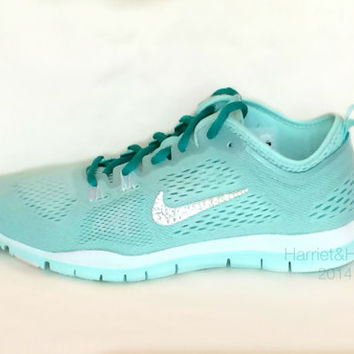 Nike Free 5.0 TR Fit 4 Breath in Mint Candy/White/TurboGreen almost identical to Tiffany Blue with Swarovski crystal detail on Wanelo