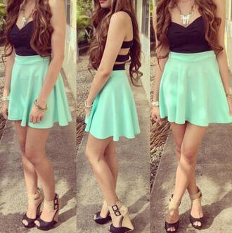 green skirt green black top strapless mini skirt nude heels wedges dress style trendy gloves mint dress skater skirt mint skirt cute dress