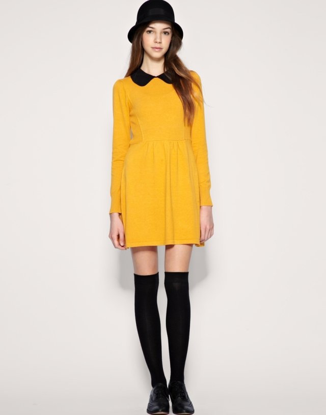 Yellow dress peter pan collar