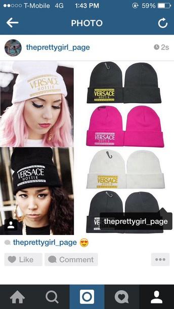 hat beanie pink pretty in pink versace