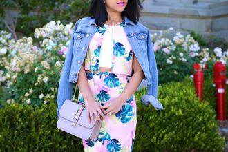 ktr style blogger jacket two-piece denim jacket shoulder bag pencil skirt high waisted skirt
