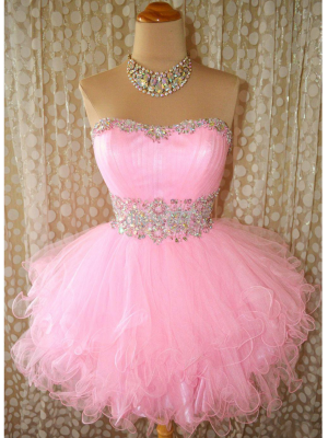 Buy Likable Pink Ball Gown Scoop Neckline Mini Prom Dress under 200-SinoAnt.com