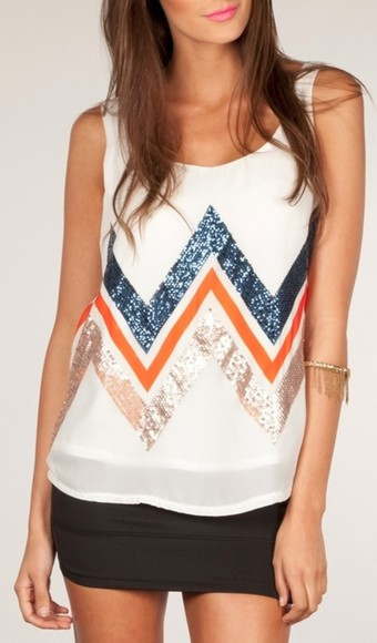 white tank blouse chevron stripes
