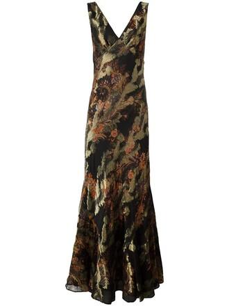 gown embroidered metallic women black silk dress