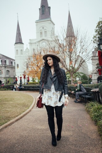 noelles favorite things blogger hat floral dress gypsy leather jacket