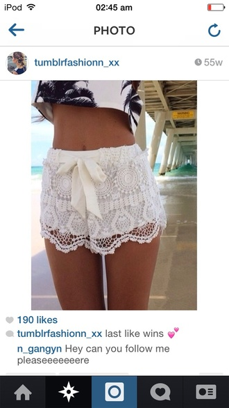 shorts crochetshorts palm treetop crop tops lace shorts lace bralette