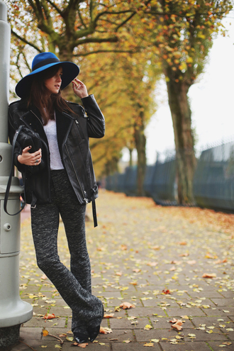style scrapbook blogger jacket bag t-shirt jewels 70s style felt hat flare sweater pants hat