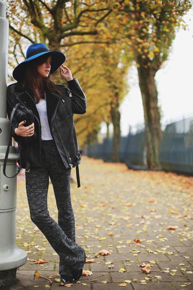 t-shirt blogger style scrapbook jacket bag jewels 70s style felt hat flare