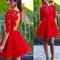 Blush red half sleeve see through lace open back charming homecoming prom gown dress,bd0023