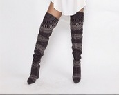 shoes,over the knee boots,grey boots,sexy boots,grey shoes,tall boots,2 toned,women boots