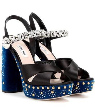 embellished sandals velvet satin black shoes