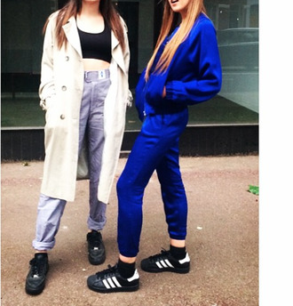 pants blue cool tracksuit tracksuit trousers joggers tracksuit top bomber jacket soft grunge 90s style