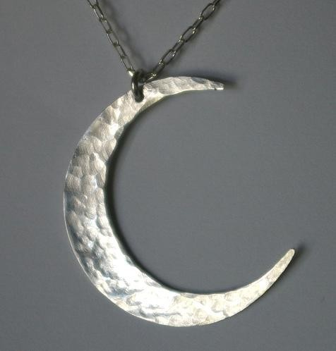 Sterling silver crescent moon hammered necklace by e. ria designs