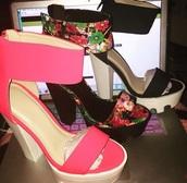 shoes,pink,black,floral,cute,summer,floral high heels,fashion,style,soft grunge,blush pink,lug sole,platform shoes