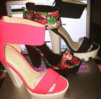 shoes pink black floral cute summer floral high heels fashion style soft grunge blush pink lug sole platform shoes high heel sandals ankle strap heels pink heels