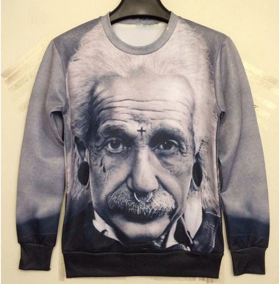 sweater black hipster einstein pullover black and white cross old white genius vintage unisex