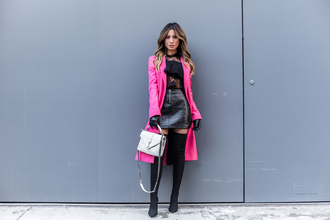my white t blogger coat skirt shoes blouse bag pink coat leather skirt thigh high boots boots