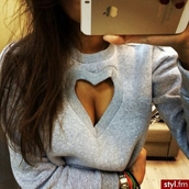 sweater,heart,heart dress,grey,sexy,clothes,cut,shirt,heart sweater,latest tops,jumper,grey sweater,blouse,truebeautyg,winter sweater,cool,sweet,girl,girly,heart cut out,cut-out,sweatshirt,warm,heather grey,sexy sweater,coeur découper  devant,coeur,cutout sweater,cut out sweater,heart cutout,love,tumblr,hot