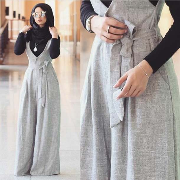 Dress Grey Jumpsuit Hijab Muslim Outfit Wheretoget