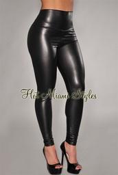 pants,black liquid faux leather