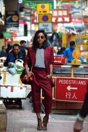 jacket,burgundy,suit,stripes,sunglasses