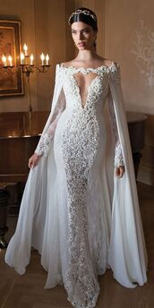dress,wedding dress,lace dress,bridal gown,long,gorgeous dress,white dress,wedding dress lace,sexy berta bridal wedding dress with plunging v neck long sleeves and free detachable cape,berta bridal gowns,2015 wedding dresses,long sleeve wedding dress,sexy wedding dress,lace wedding dress