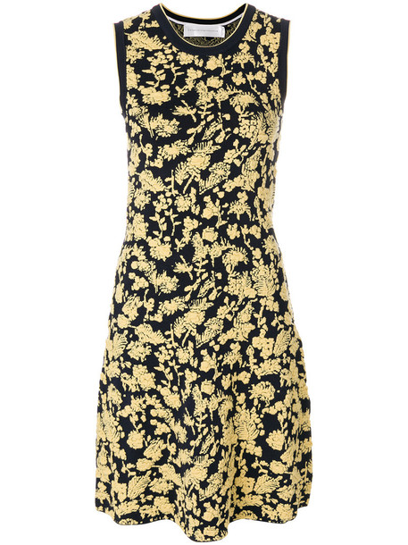 Victoria Victoria Beckham dress women spandex jacquard floral cotton blue