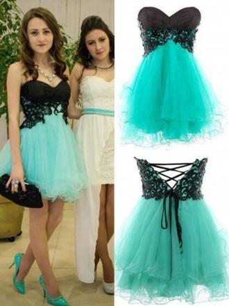 dress black n mint formal dress