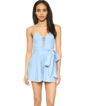 romper,romber,lace up romber,lace up detail,lace,bow,sash waist