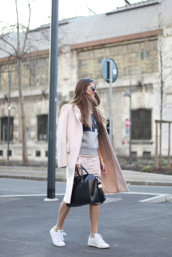 b a r t a b a c blogger skirt sweater coat shoes bag sunglasses graphic sweatshirt sweatshirt pink coat black bag handbag givenchy givenchy bag sneakers stan smith adidas adidas shoes cat eye
