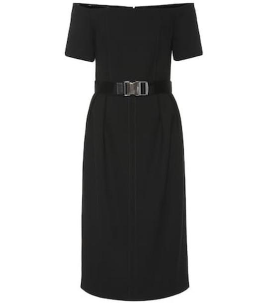 Fendi Belted wool dress in black
