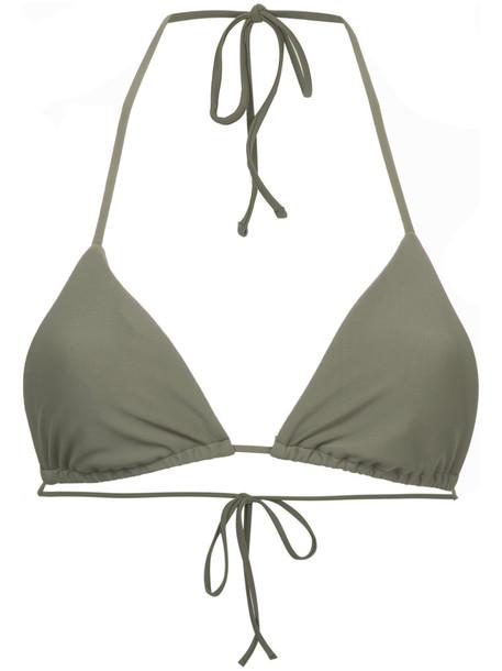 bikini bikini top triangle bikini triangle women spandex green swimwear
