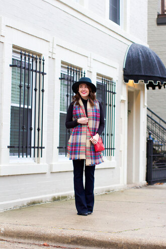 sequins and stripes blogger scarf hat tartan scarf red bag