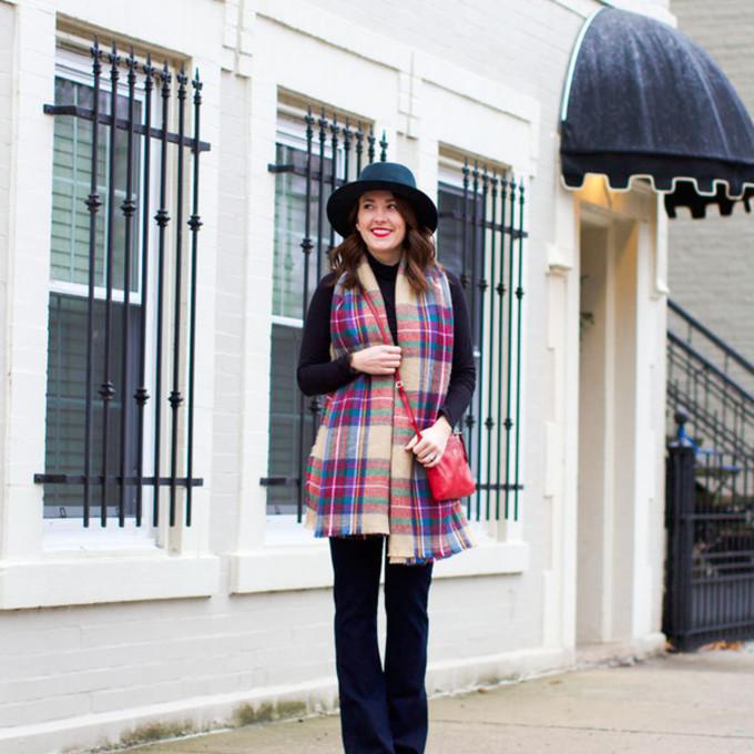 scarf jeans shoes bag hat blogger tartan scarf sequins and stripes red bag make-up scarf red