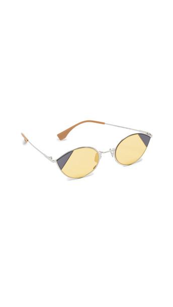 Fendi Narrow Color Block Cat Eye Sunglasses in gold / silver