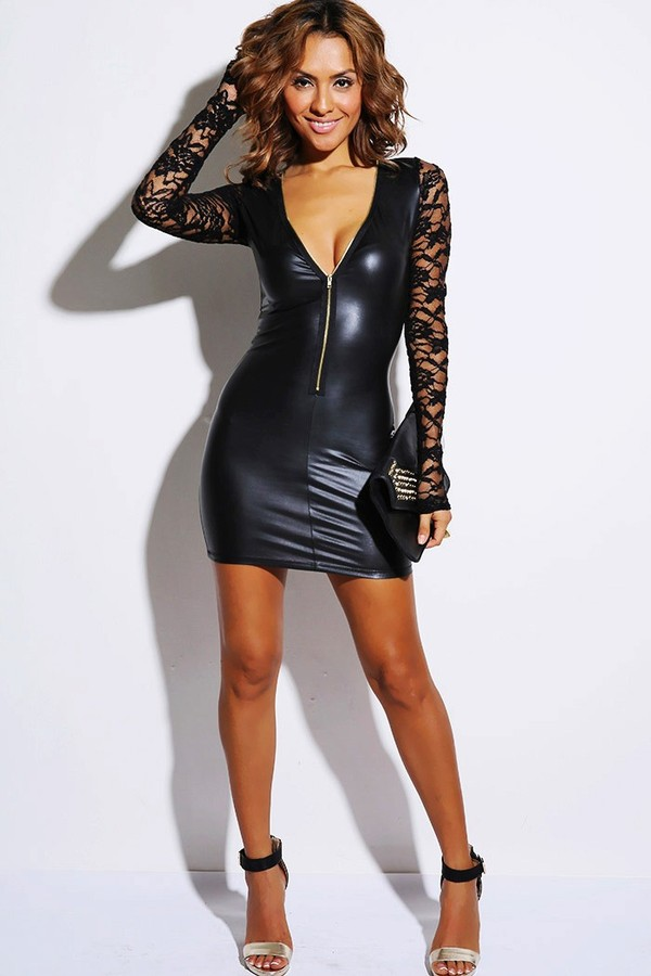 Sexy Leather Little Black Dress - Shop for Sexy Leather Little ...