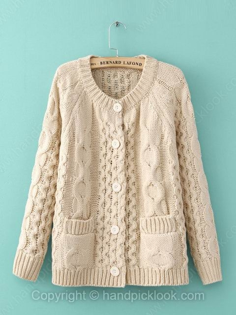 Beige Long Sleeve Pockets Cable Loose Knit Top - HandpickLook.com