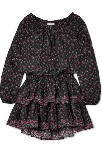 dress mini dress mini floral cotton print black