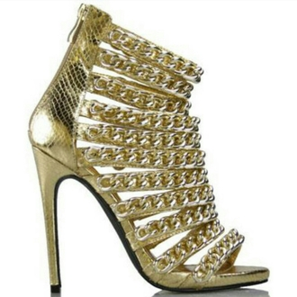 shoes gold chain heels sexy footwear